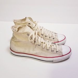 Womens 12.5 Cream Hi Top Converse Chucks Sneakers
